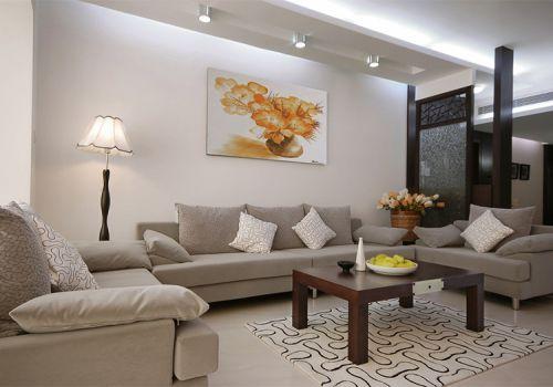 淡雅中式米色客厅设计图
