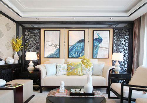 高雅中式客厅照片墙设计