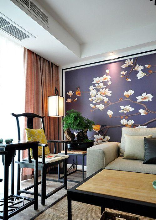 古韵新中式风格灰色温馨客厅装潢