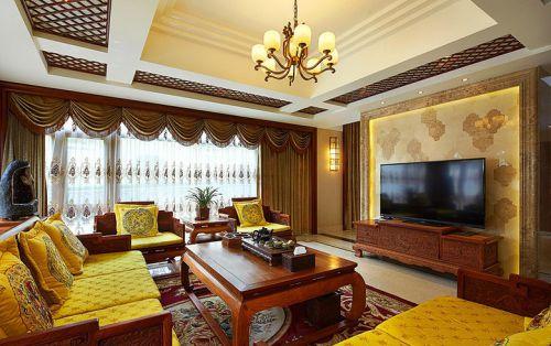 黄色中式风格客厅装饰效果图