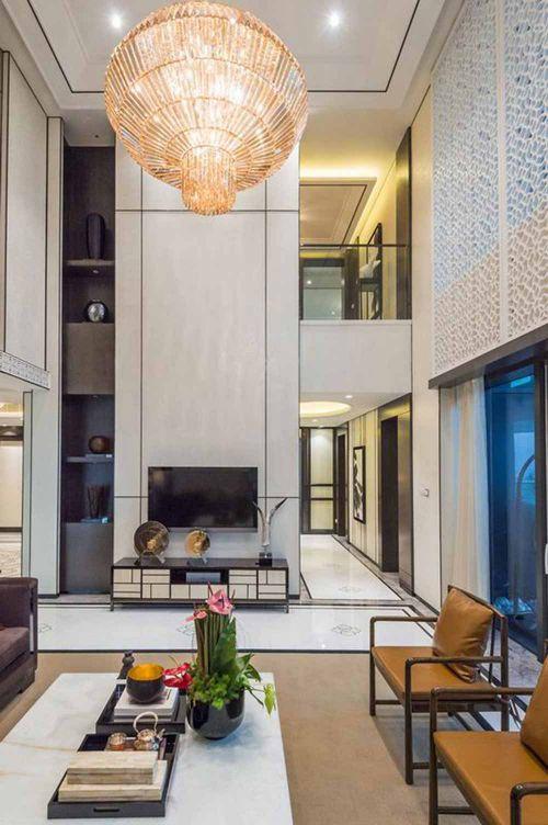 大气新中式别墅客厅装潢