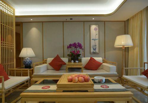 原木中式沙发背景墙欣赏