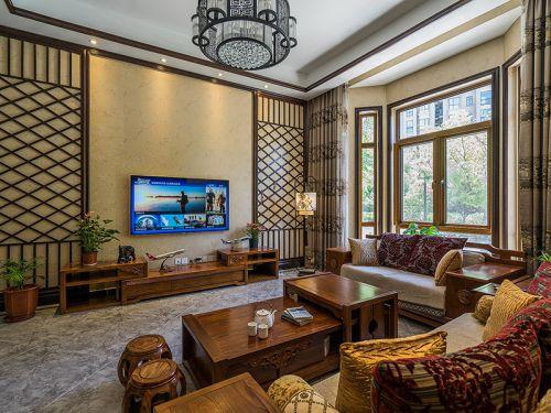 中式典雅大方客厅装修设计欣赏