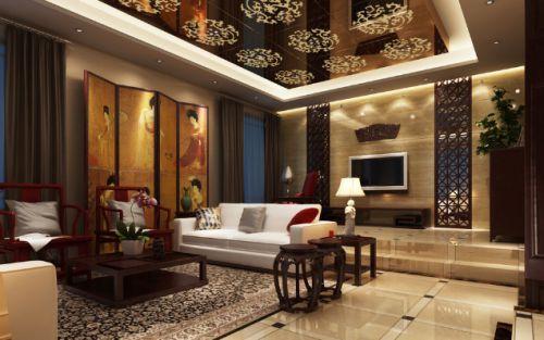 中式风格米色雅致客厅装修美图