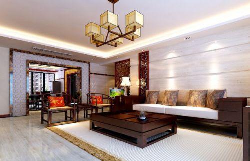中式风格雅致白色客厅装潢案例