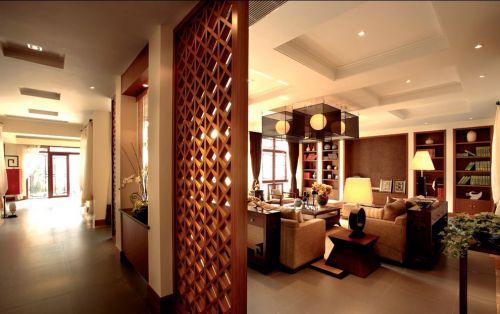 中式黄色古典客厅隔断装饰图