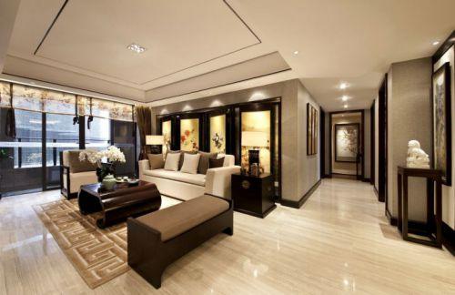 米色质感中式风格客厅装修设计