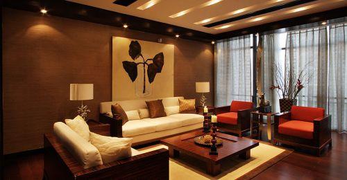中式经典褐色客厅效果图赏析