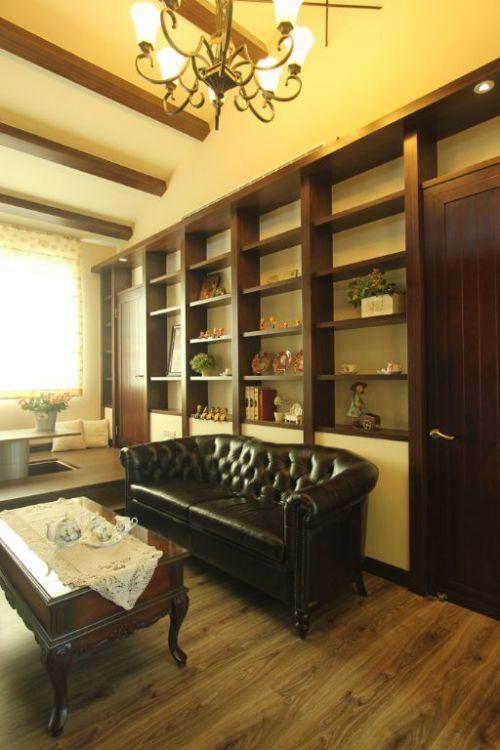 黄色中式风格客厅收纳设计案例