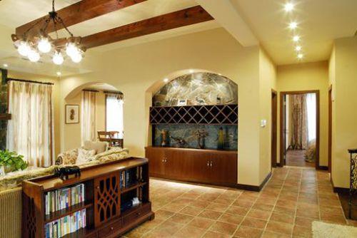 黄色田园风格客厅过道装修设计