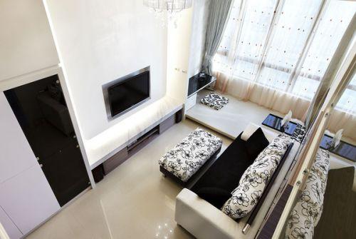 简约风格白色客厅榻榻米装饰设计图片