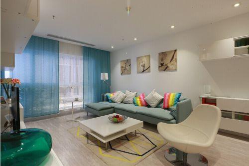 綠色簡約風格客廳裝修效果圖設計