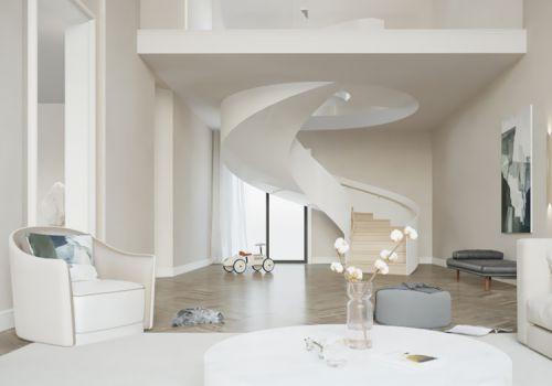 浪漫白简约客厅楼梯设计
