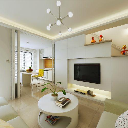 簡約時尚風白色客廳設計圖片