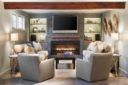 淡雅時尚裸灰簡約風格北歐客廳裝修布置