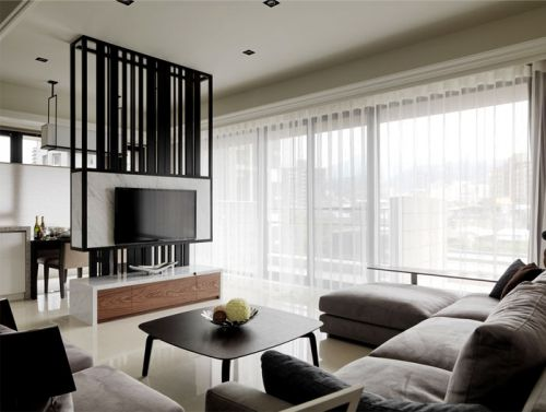 簡約風格質感灰色客廳裝修案例2018
