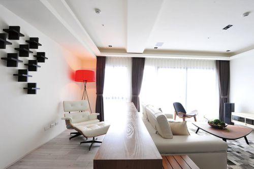 白色簡約風格客廳設計案例2018