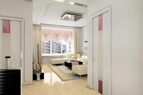 清新白色簡約風格客廳設計圖