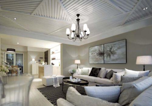 纯白客厅吊顶设计