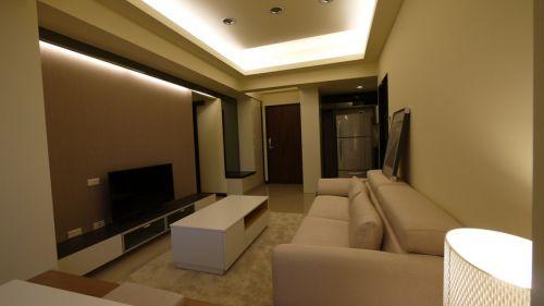 米色簡約風格客廳裝潢設計效果圖