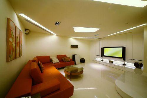 橙色簡約風格客廳沙發裝飾設計圖片