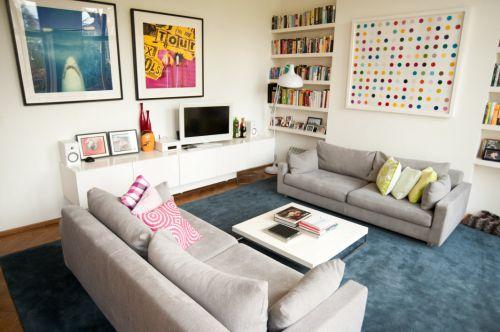簡約優雅創意混搭白色客廳裝修效果圖