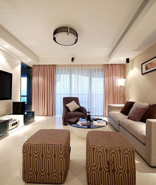精致優雅簡約風格米色客廳設計賞析