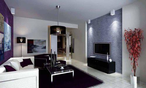 藍色舒適簡約風格客廳裝修效果圖
