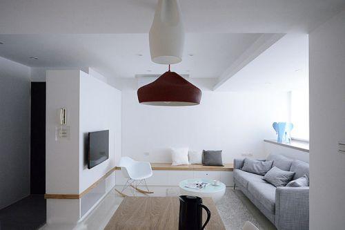 白色極致簡約客廳裝潢設計