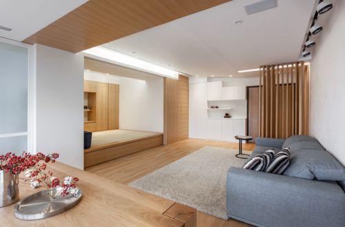 簡約風格質感原木色日系客廳效果圖設計