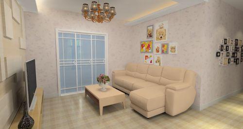 米色簡約風格客廳裝潢案例