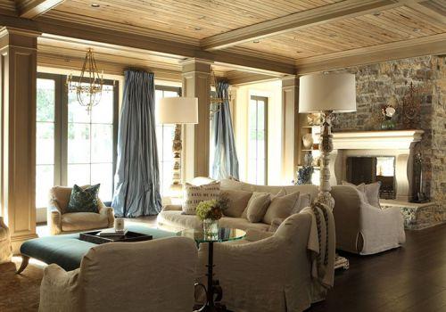 現代藍色落地窗簾設計美圖