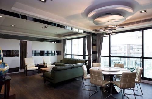 灰色精致時尚現代風格客廳裝修圖片
