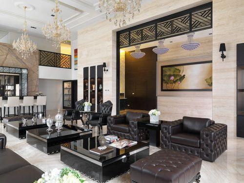 华丽时尚大气精致现代黑色客厅设计图