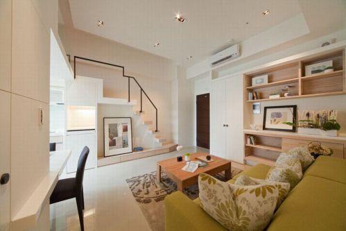 米色现代风格客厅装修图片欣赏