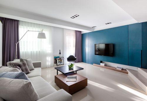 幾何創意藍色現代風格客廳效果圖欣賞