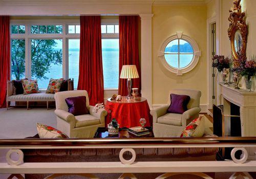 现代大气红色窗帘美图