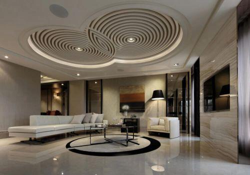 時尚圓盤客廳吊頂設計