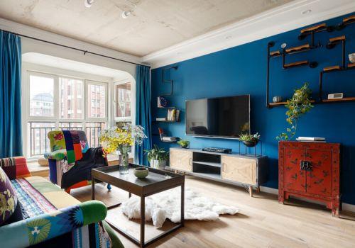蓝色现代客厅背景墙欣赏