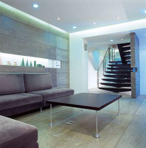 紫色現代風格客廳沙發擺放效果圖