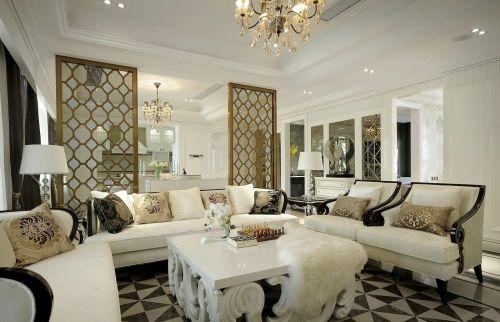 精致新古典雅致風格白色客廳設計圖片