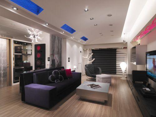 現代風格創意雅致黑色客廳裝潢設計圖片