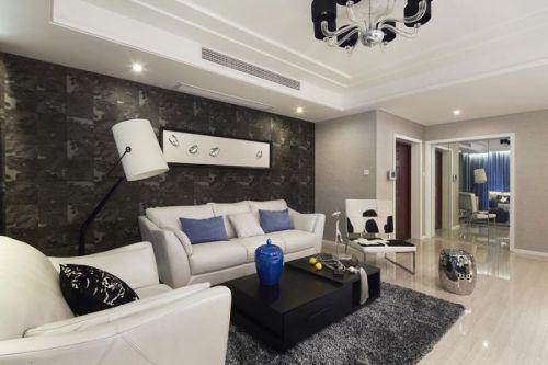 黑色现代客厅背景墙装潢设计