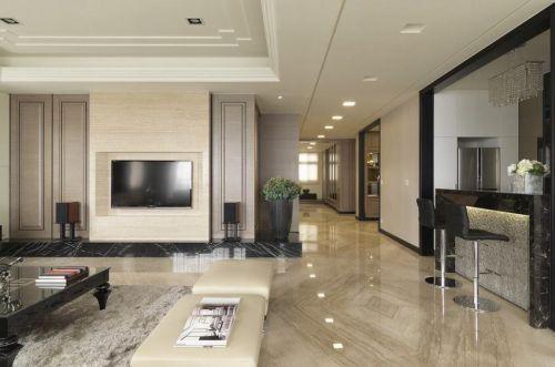 現代風格淡雅米色客廳裝潢效果圖