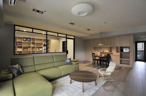 綠色現代風格客廳沙發裝飾設計圖片