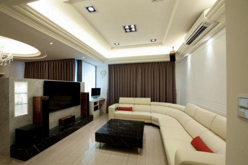 大氣白色現代風格客廳裝修圖片