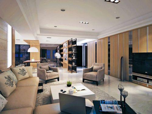 米色時尚現代風格客廳裝飾案例