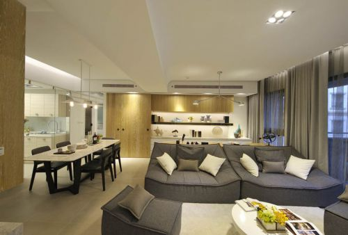 大氣時尚現代風格灰色客廳裝潢欣賞