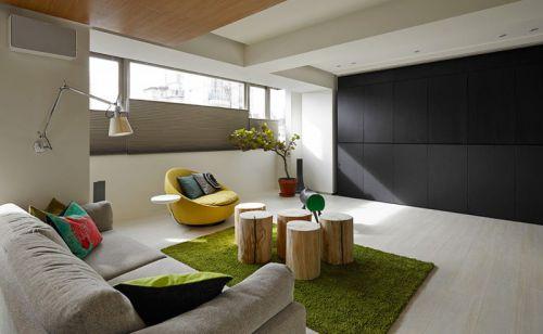 舒適自然現代風格米色客廳裝潢美圖賞析