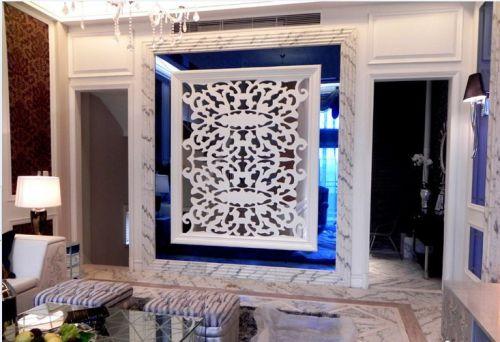 现代时尚白色客厅隔断设计图